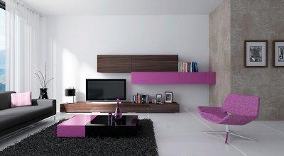 Lila nappali bútor - nappali ötlet, modern stílusban