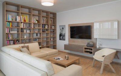 Nappali bútor könyvespolccal - nappali ötlet, modern stílusban