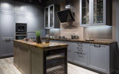 Klasszikus antracit konyhabútor - konyha / étkező ötlet, modern stílusban