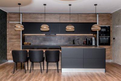 Modern konyhabútor nagy szigettel - konyha / étkező ötlet, modern stílusban