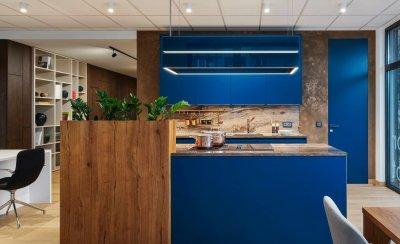 Exkluzív kék konyhabútor - konyha / étkező ötlet, modern stílusban