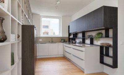Carbon tölgy/pezsgő konyhabútor - konyha / étkező ötlet, modern stílusban