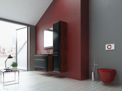 Meggypiros wc - fürdő / WC ötlet, modern stílusban