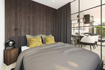 Hálószoba - erkély / terasz ötlet, modern stílusban
