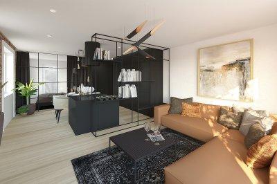 Egyterű lakás - konyha / étkező ötlet, modern stílusban
