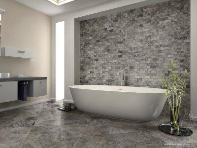 Szürke kőburkolat - fürdő / WC ötlet, modern stílusban