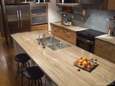 Természetes kő munkalap - konyha / étkező ötlet, modern stílusban