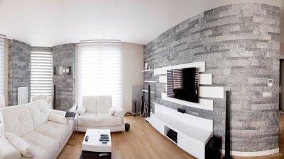 Szürke kőburkolat - nappali ötlet, modern stílusban