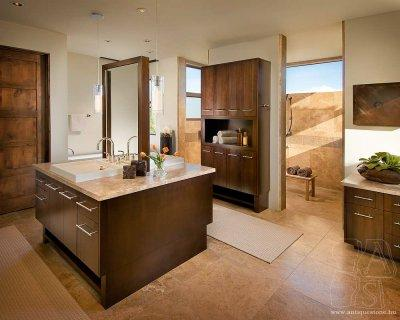 Kőburkolat falon és padlón - konyha / étkező ötlet, modern stílusban