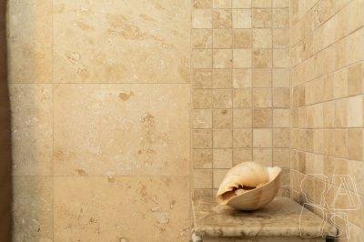 Kőburkolat a fürdőben - fürdő / WC ötlet, modern stílusban