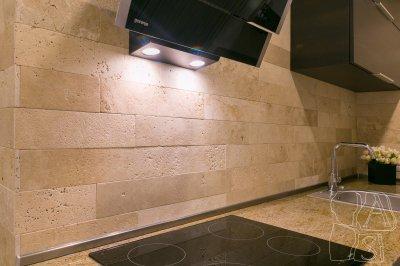 Kőburkolat a konyhában - konyha / étkező ötlet, modern stílusban