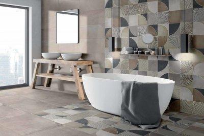Gare du Nord_Sand burkolat - fürdő / WC ötlet, modern stílusban