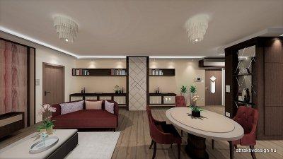 Glamour stílusban tervezett lakás  étkező és nappali részének látványterve. - konyha / étkező ötlet, egyéb stílusban