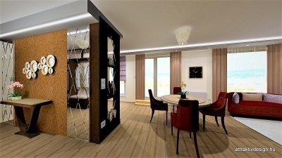 Glamour stílusban tervezett lakás előszoba és étkező részének 3d látványterve. - konyha / étkező ötlet, egyéb stílusban