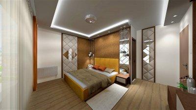 Egyedi bútorokkal berendezett glamour stílusú hálószoba 3d látványterve. - háló ötlet, egyéb stílusban