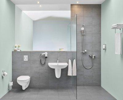Modern szürke fürdőszoba - fürdő / WC ötlet, modern stílusban