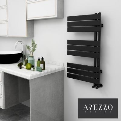 Fekete fürdőszobai radiátor - fürdő / WC ötlet, modern stílusban