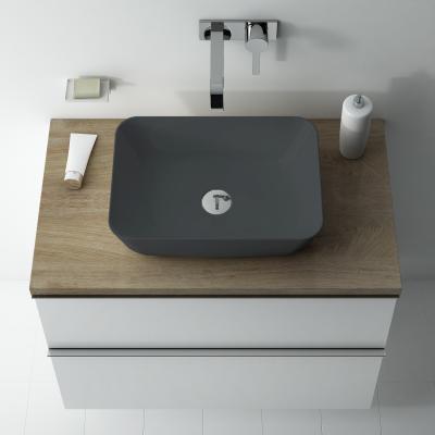 Mosdó sötét színben - fürdő / WC ötlet, modern stílusban