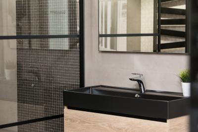 Fekete mosdó - fürdő / WC ötlet, modern stílusban