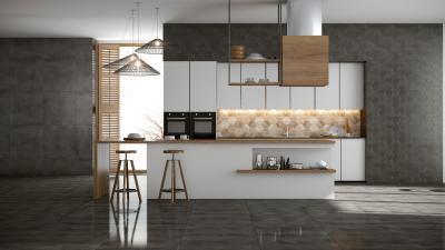 Szürke hidegburkolat - konyha / étkező ötlet, modern stílusban