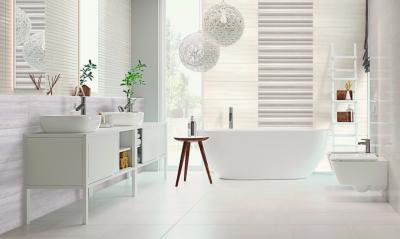 Fehér és pasztell csempe - fürdő / WC ötlet, modern stílusban