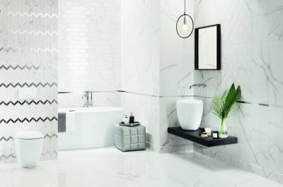 Márványos csempe - fürdő / WC ötlet, modern stílusban