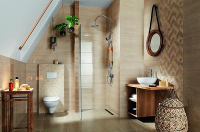 Bézs csempe - fürdő / WC ötlet, modern stílusban