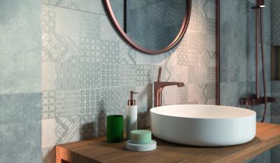 Mintás csempe - fürdő / WC ötlet, modern stílusban