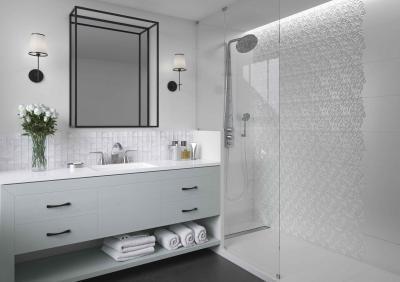 Fehér csempék - fürdő / WC ötlet, modern stílusban
