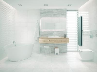 Fehér fürdő - fürdő / WC ötlet, modern stílusban