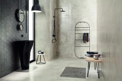 Kőhatású és méhsejt alakú csempe - fürdő / WC ötlet, modern stílusban