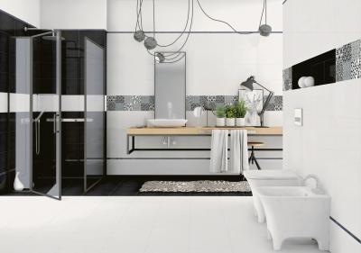 Monokróm csempék - fürdő / WC ötlet, modern stílusban