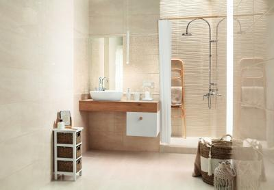 Bézs fürdőszoba - fürdő / WC ötlet, modern stílusban