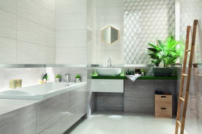 Változatos színek és felületek - fürdő / WC ötlet, modern stílusban