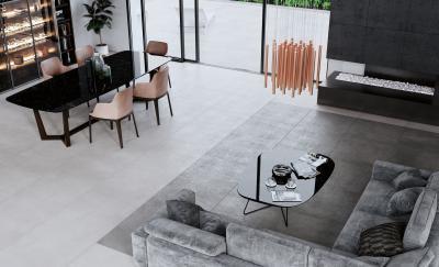 Betonhatású burkolat - nappali ötlet, modern stílusban
