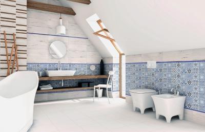 Többféle burkolat harmóniája - fürdő / WC ötlet, modern stílusban