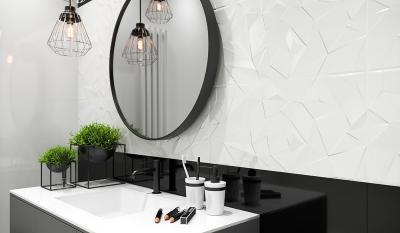 Fekete fehér csempe - fürdő / WC ötlet, modern stílusban
