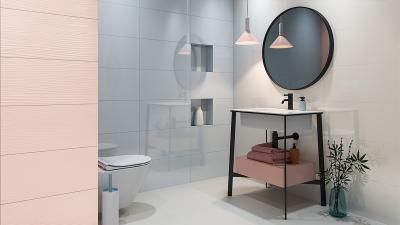 Púderszínű burkolatok - fürdő / WC ötlet, modern stílusban