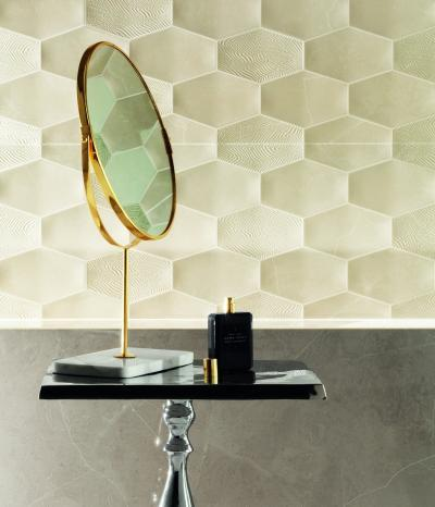 Méhsejt formájú csempe - fürdő / WC ötlet, modern stílusban
