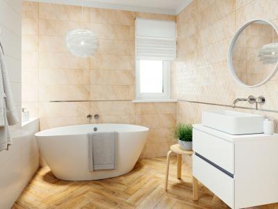 Kőhatású burkolat - fürdő / WC ötlet, modern stílusban