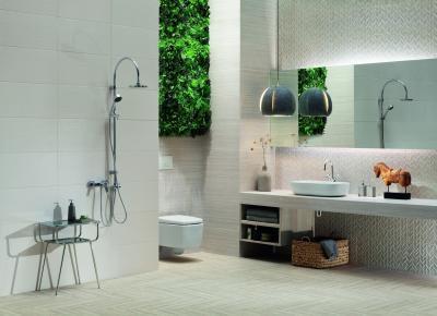 Mintás és sima csempék harmóniája - fürdő / WC ötlet, modern stílusban