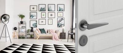 DND Iki körrozettás kilincsgarnitúra - nappali ötlet, modern stílusban