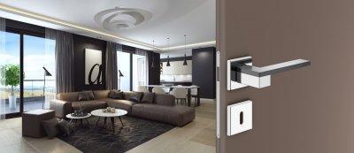 DND ESA négyzetrozettás kilincsgarnitúra - nappali ötlet, modern stílusban