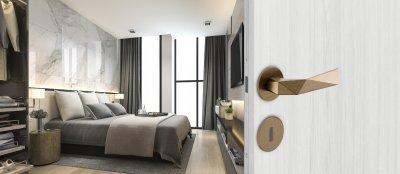 DND Luxury lapos körrozettás kilincsgarnitúra, matt szatén bronz felülettel - háló ötlet, modern stílusban
