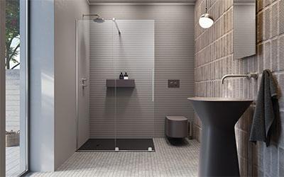 Zuhanykabin üvegfallal - fürdő / WC ötlet