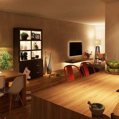 Hangulatvilágítás LED szalaggal beltérre - konyha / étkező ötlet, modern stílusban