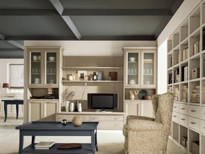 Kazettás mennyezet alatt - nappali ötlet, klasszikus stílusban