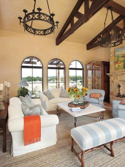 Rikítő kék - nappali ötlet, mediterrán stílusban