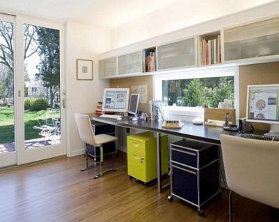 Színes,mintás fal49 - dolgozószoba ötlet, modern stílusban