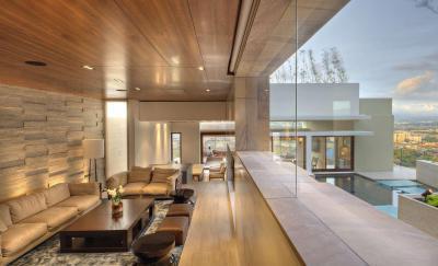 Nappali szinteltolással - nappali ötlet, modern stílusban